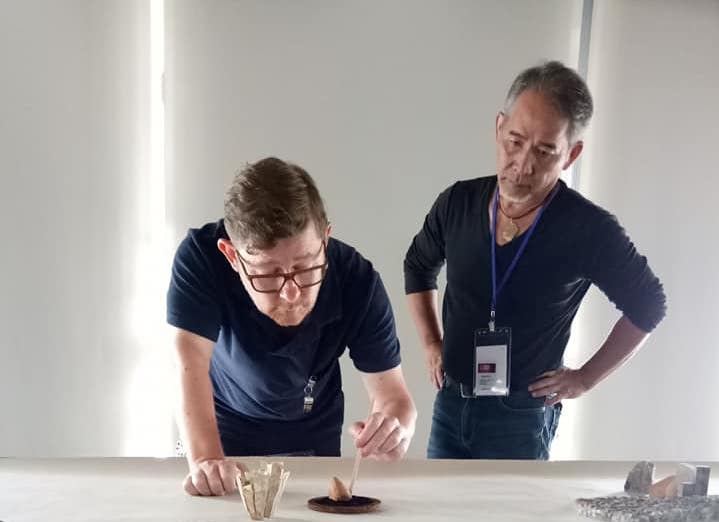 An image of A-Fu and David Clarke setting up the exhibition in Taipei after there 5 day residency at NTCRI