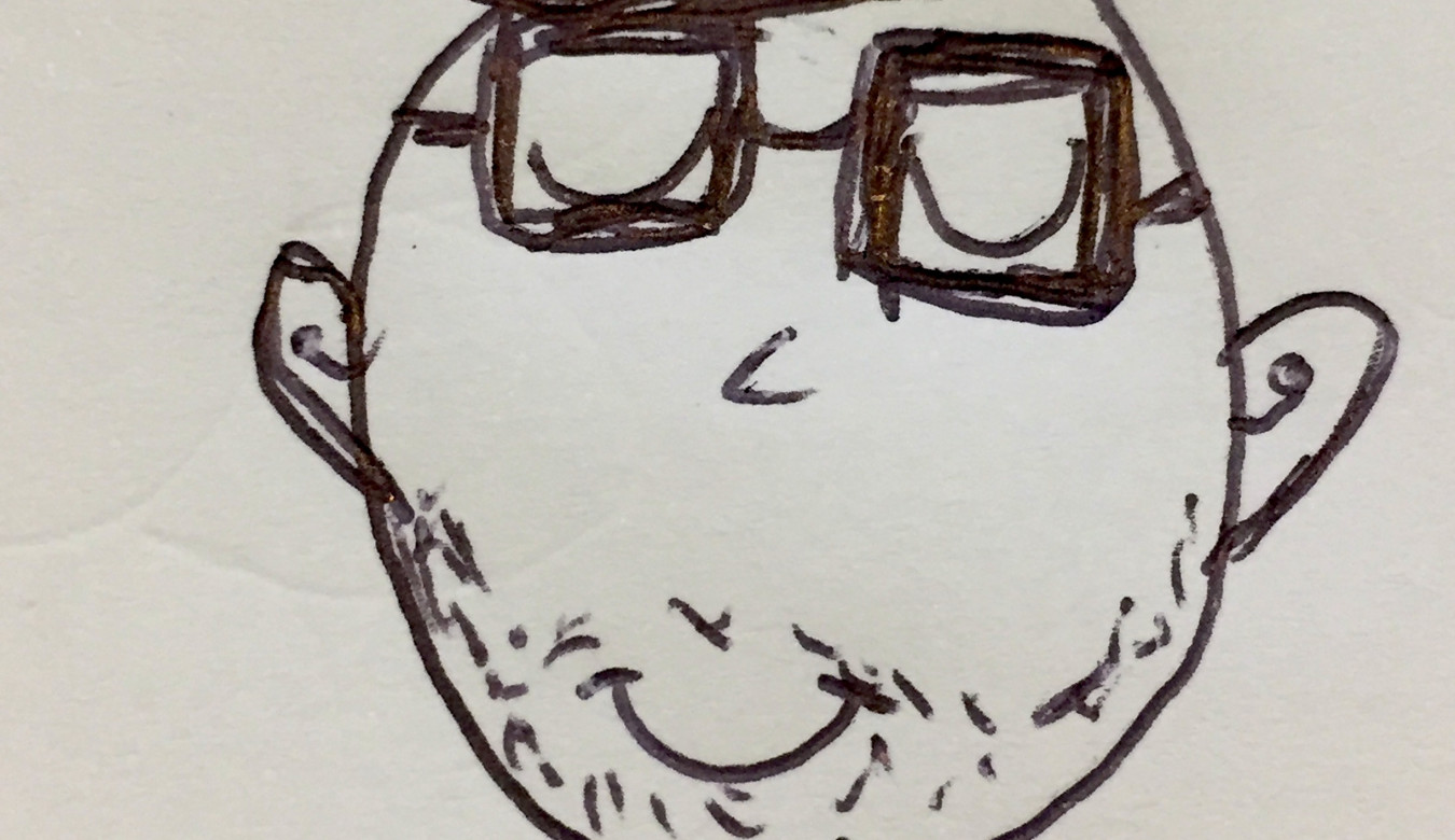 A kids portrait of me with big glasses in black ink.