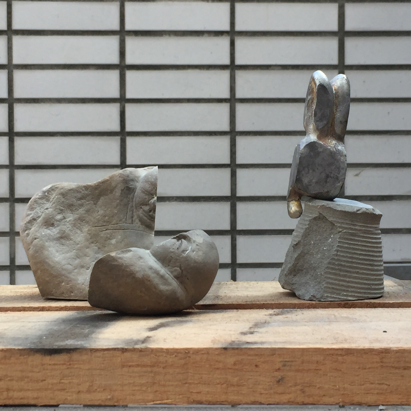 Image of statue and bunny after artists have altered each others work. A-Fu and David Clarke NTCRI Taiwan.