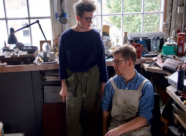 Artists Tracey Rowledge and David Clarke in the workshop.